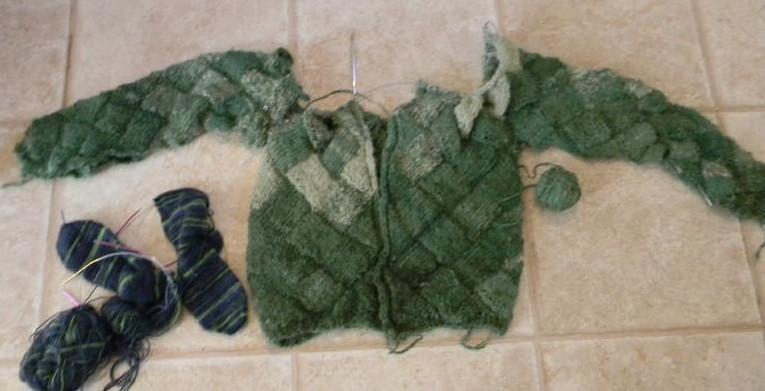 Entralac sweater in progress
